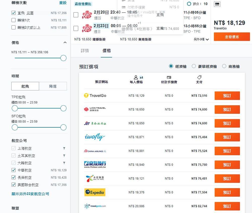 台灣-舊金山-機票比價