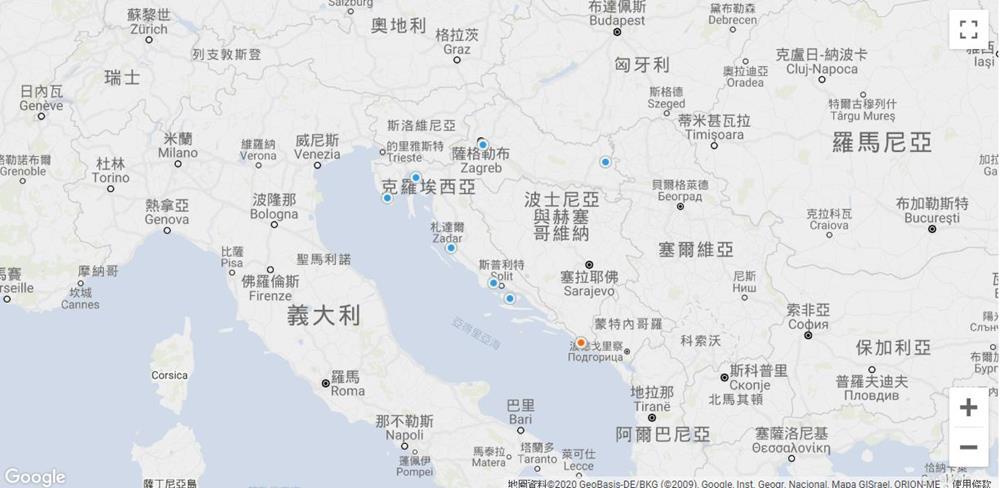 克羅埃西亞-機場-地圖